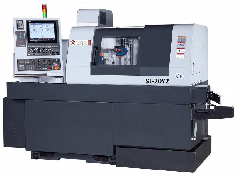 "Ganesh GEN TURN SL-20Y2 8-axis 20mm Swiss twin-spindle mill/turn center includes dual ""Y"" & ""C"" axis"