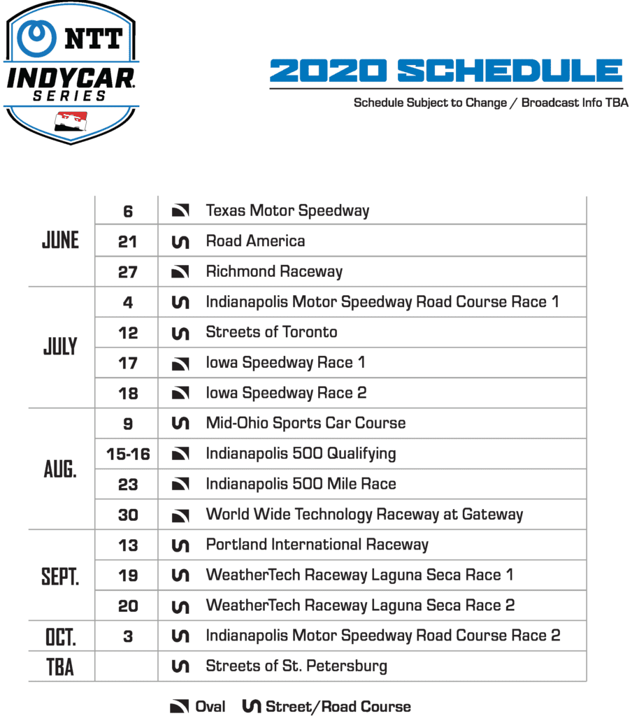 Updated Indycar Race Schedule for 2020 Arrow McLaren SP Team