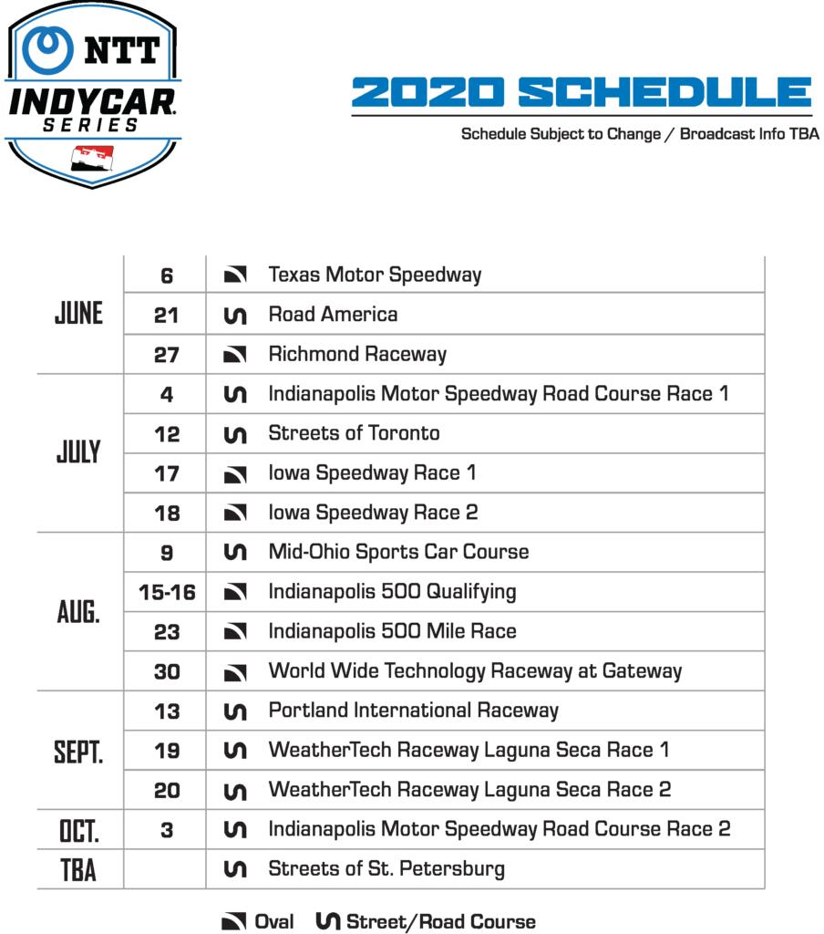 Updated Indycar Race Schedule for 2020 Arrow McLaren SP Team