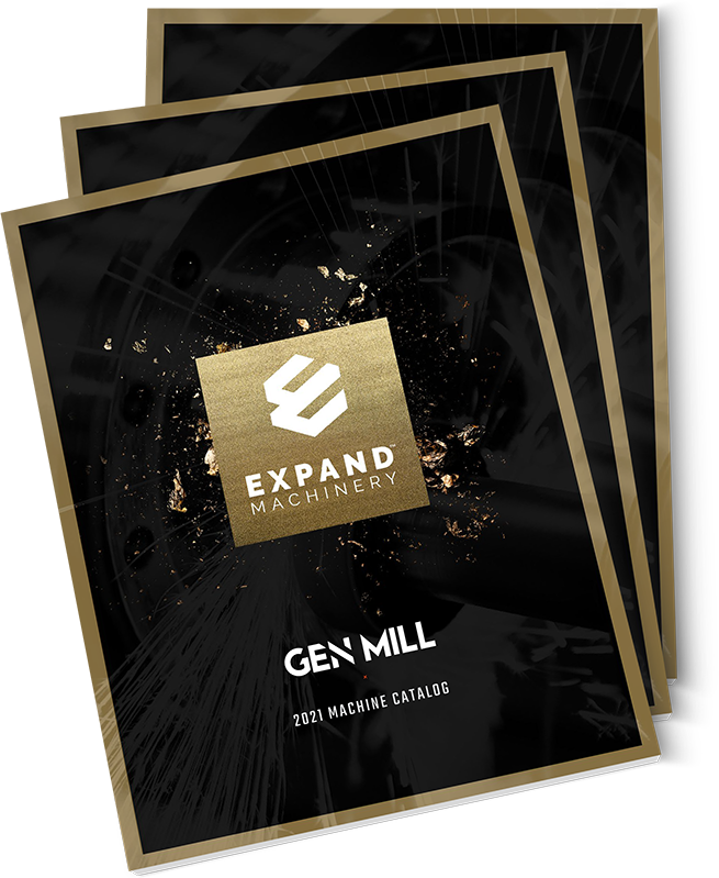 Stack of Expand Machinery catalogs for GENMILL machines